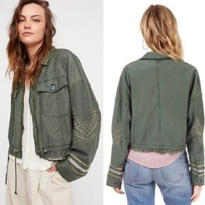 Free People Extreme Cropped Military Army Jacket